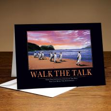 Classic Motivational Cards - Walk The Talk Penguins 25-Pack Greeting Cards