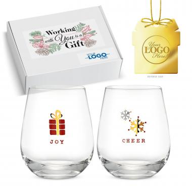 Holiday Gift Box - Ornament & Holiday Wine Glass