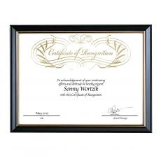 Black & Gold Wood Certificate Frame