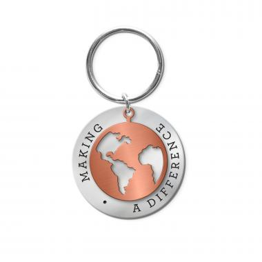 Making a Difference World Metal Keychain