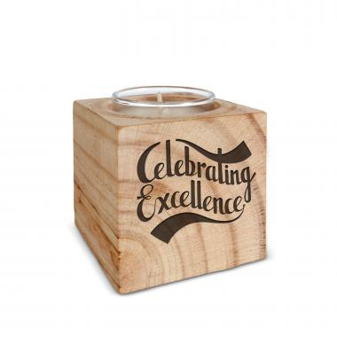 Celebrating Excellence Personalized Wooden Candle