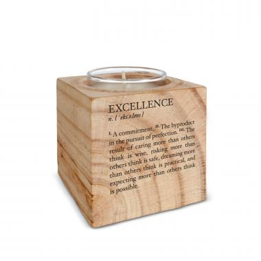 Excellence Definition Personalized Wooden Candle
