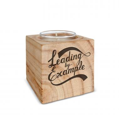 Leading by Example Personalized Wooden Candle