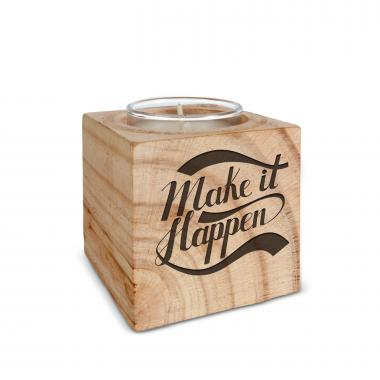 Make it Happen Personalized Wooden Candle