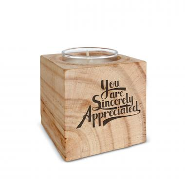 Sincerely Appreciated Personalized Wooden Candle