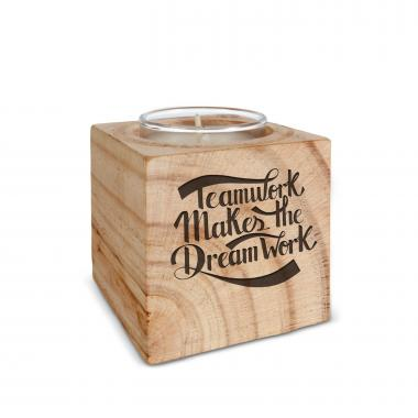 Teamwork Dream Work Personalized Wooden Candle