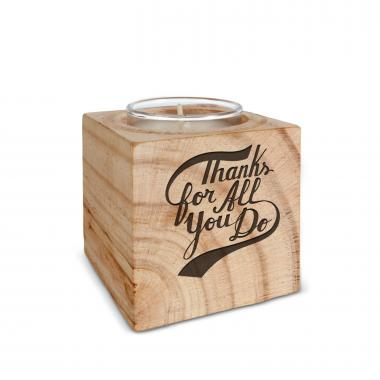 Thanks for All You Do Personalized Wooden Candle