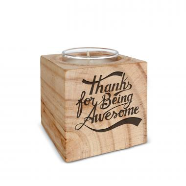 Thanks for Being Awesome Personalized Wooden Candle