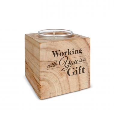 Working With You is a Gift Personalized Wooden Candle
