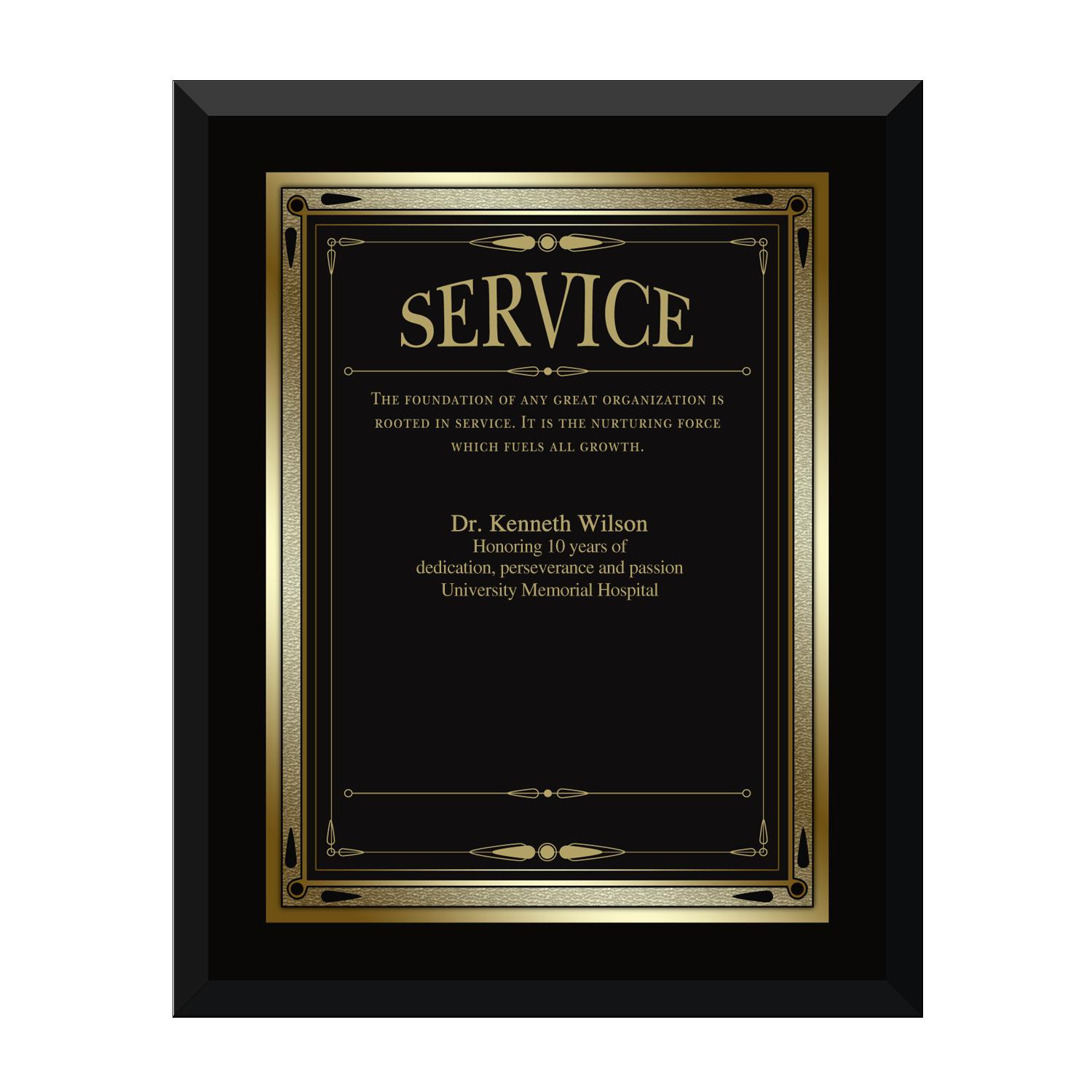 Ebony Service Award Plaque