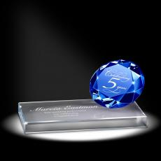 Colored Glass and Crystal Awards - Sapphire Sparkling Performance Service Award