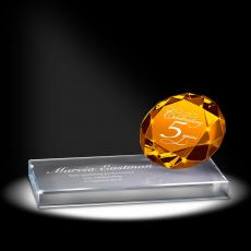 Colored Glass and Crystal Awards - Amber Sparkling Performance Service Award