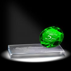 Colored Glass and Crystal Awards - Emerald Sparkling Performance Service Award
