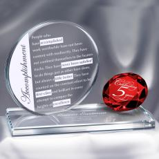 Crystal Trophies - Ruby Brilliant Accomplishment Crystal Award