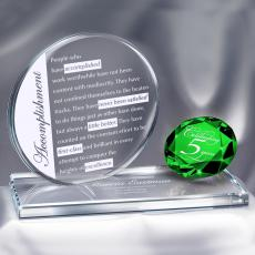 Colored Glass and Crystal Awards - Emerald Brilliant Accomplishment Crystal Award