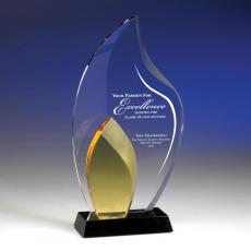 Colored Glass and Crystal Awards - Amber Flame Crystal Award