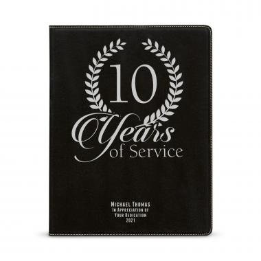 Years of Service Personalized Vegan Leather Padfolio
