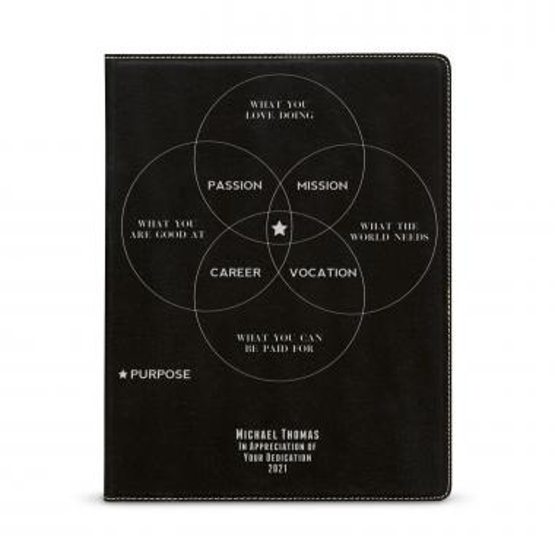 Purpose Venn Diagram Personalized Vegan Leather Padfolio