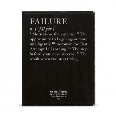 Failure Definition Personalized Vegan Leather Padfolio