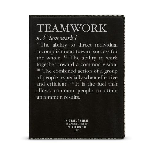 Teamwork Definition Personalized Vegan Leather Padfolio