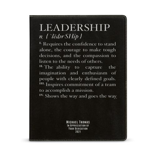 Leadership Definition Personalized Vegan Leather Padfolio