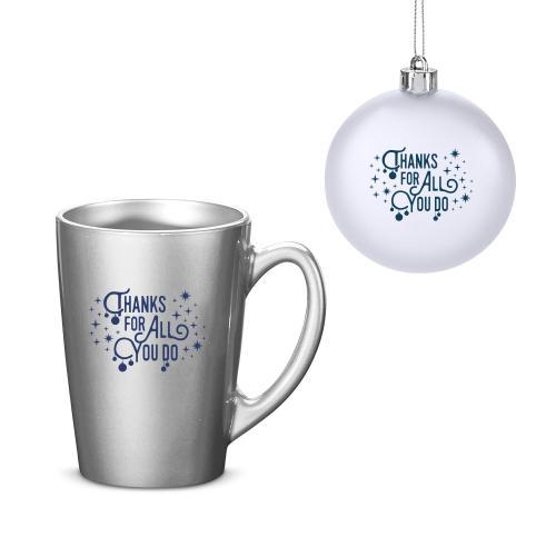 Thanks for All You Do Metallic Mug & Ornament Gift Set