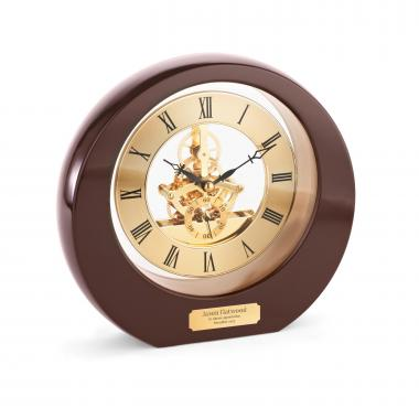Rosewood Interactive Gear Clock Personalized Desk Clock