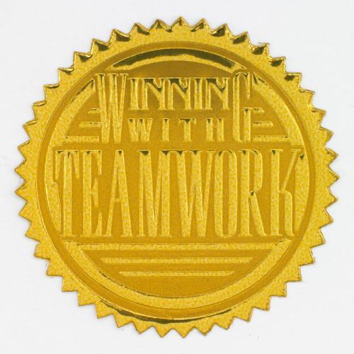 Winning with Teamwork Gold Foil Certificate Seals