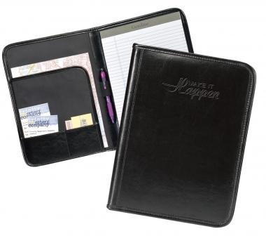 Make It Happen Black Leather Padfolio
