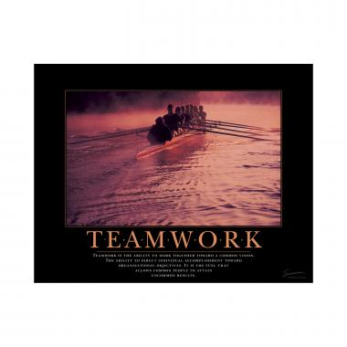 Teamwork Rowers Mini Motivational Poster