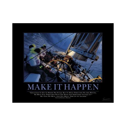 Make It Happen Sailboat Mini Motivational Poster
