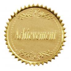 Certificate Seals - Round Gold Achievement Foil Certificate Seals- 100pk