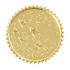 Round Gold Stars Foil Certificate Seals- 100pk