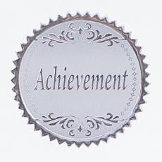 Round Silver Achievement Foil Certificate Seals- 100pk