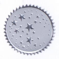 Closeout and Sale Center - Round Silver Stars Foil Certficiate Seals- 100pk