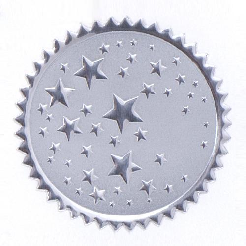 Round Silver Stars Foil Certficiate Seals- 100pk