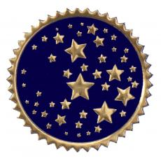 Closeout and Sale Center - Round Navy & Gold Stars Foil Certificate Seals- 100pk