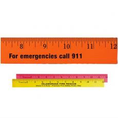 "Office Supplies - 12"" Fluorescent Wood Ruler - English Scale"