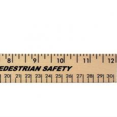 "Apparel - 12"" Clear Lacquer Wood Ruler - English and Metric Scale"