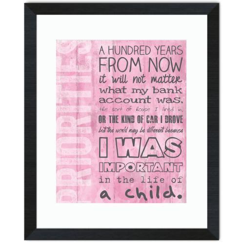 Pink Priorities Inspirational Art