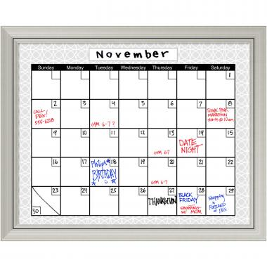 Medallion Grey Dry-Erase Board Calendar Office Art