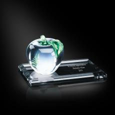 Engraved Clock Awards - Crystal Apple Green Leaf Award