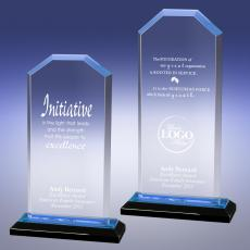 Colored Acrylic Awards - Blue Cornerstone Reflection Acrylic Award