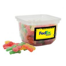 Office Supplies - Assorted Gummy Worm Candy in small square tub
