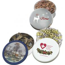 Candy, Food & Gifts - Glad Tidings Tin with Dark Chocolate Almonds and Cashew Nuts