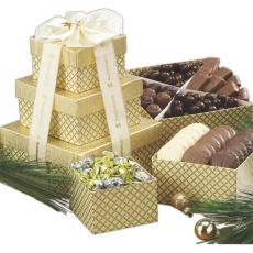 Candy, Food & Gifts - Chocolate Lovers Gift Tower w Assorted Chocolates and Nuts