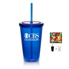 Candy, Food & Gifts - Plastic Tumbler Cup with Chewing Gum - 16 oz. - Drinkware