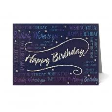 New Products - Silver Foil Happy Birthday Card 25 Pack