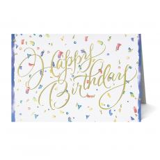 New Greeting Cards - Gold Foil Happy Birthday Card 25 Pack