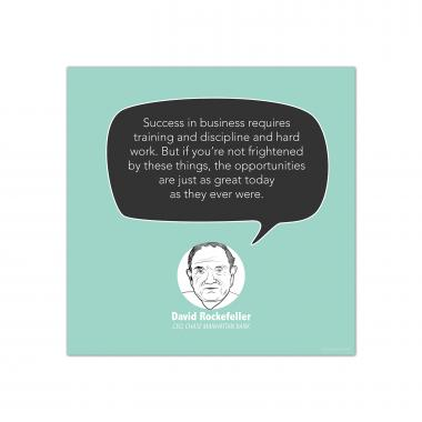 Success in Business, David Rockefeller - Startup Quote Poster